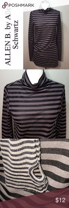 Thumb Holes Allen B. by Allen Schwartz Small Great Allen B. by Allen Schwartz long sleeve cowl neck top with THUMB HOLES Long length, black and gray large stripes with smaller stripes at the bottom of the sleeves. Has some pilling. t566-144 ABS Allen Schwartz Tops