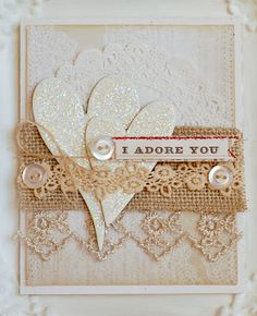 White on White Card...with glitter hearts.
