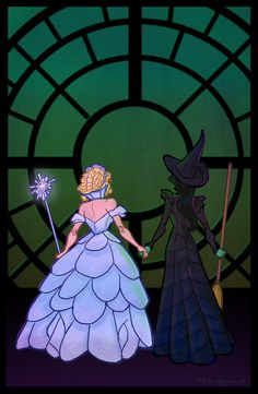 Glinda and Elphaba Art Print by empressfunk - X-Small Wicked Musical Quotes, Wicked Musical Tattoo, Theatre Nerds, Musical Theatre, Elphaba And Glinda, Broadway Wicked, The Witches Of Oz, Cute Couple Halloween Costumes, Fan Art
