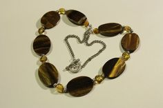 Tiger Eye, with silver spacers and amber coloured beads - Commission piece November 2014
