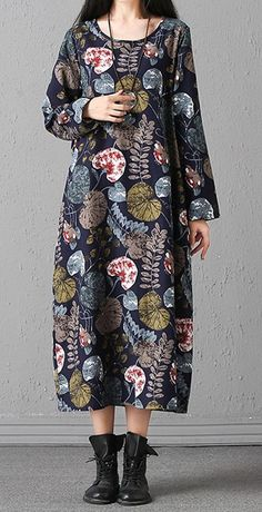 Women loose fit plus size maxi dress retro ethnic flower pocket tunic robe chic #Unbranded #Maxi #Casual