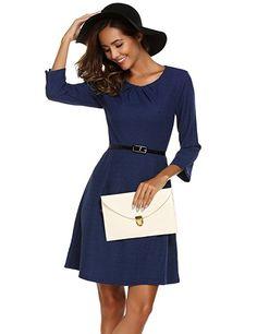 Shoppen Sie Parabler Damen 3/4 Arm Business Kleid Elegant A-Linie Kleid  Partykleid mit Gürtel - business kleidung damen business outfit frauen  business ...