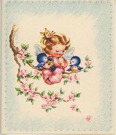 VINTAGE SLEEPING FAIRY GIRL PINK PAJAMAS BLUEBIRD APPLE BLOSSOMS NOTE CARD PRINT