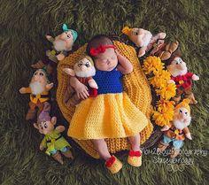 Snow White 3 piece set PDF PATTERN ONLY Crochet Size