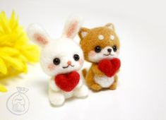 DIY felting Kit Wool Needle Felt Craft novice handmade cute gift animal bear rabbit new white felted art feltingwork handmade set