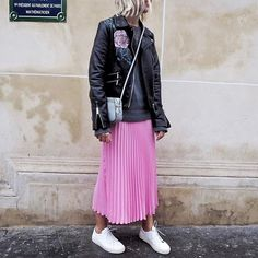 Leather,  pleats and sneaks