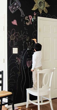 chalk wall in kitchen! I think my kids would love this.