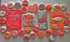 Typography Girly Love cookie set - HayleyCakes And COokies