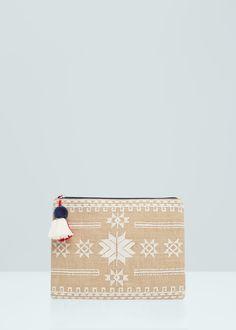 Jute cotton-blend bag - Bags for Women   MANGO USA