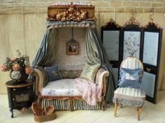 Lindas Miniature Musings - Maritza this is a great idea for an AG doll house with canopy surrounding a chair or sofa, use lots of pillows and a knitted afgan draped. Description from pinterest.com. I searched for this on bing.com/images