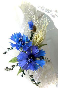 """ЦВЕТЫ ИЗ ТКАНИ. шёлковые васильки """"Полевые цветы"""""""" - васильковый,васильки"""