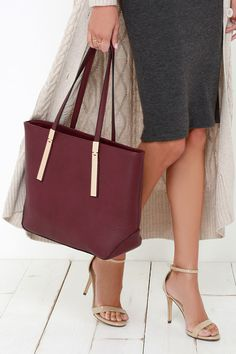 All your essentials are less than an arm's-length away with the Prima Donna Girl Burgundy Tote! Pebbled vegan leather shapes this classic rectangular bag. Burgundy Handbags, Fashion And Beauty Tips, Burgundy And Gold, Cute Handbags, Striped Fabrics, Autumn Fashion, Purses, My Style, Polyvore
