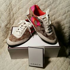 """Coach Perrie shoes Coach shoes, signature """"C"""" with pink and orange """"C"""" on side. Only worn a couple of times. Only slight discoloration from jeans as shown in picture. Original box, smoke free home. Coach Shoes Sneakers"""