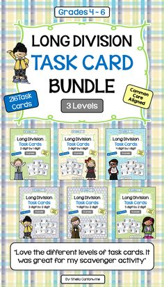 There are 6 Topics and 216 Differentiated Long Division Task Cards in this Long Division Task Card Bundle. All Topics have 3 levels of Task Cards. With 3 different levels, you can differentiate by student or by class.