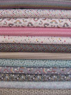 anthology fabrics raining rainbows, on sale at www.fabricworm.com