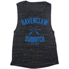 Ravenclaw Quidditch Muscle Tank Top 4 Colors ($22) ❤ liked on Polyvore featuring tops, harry potter, black, tanks, women's clothing, muscle tank, cotton tank, cotton muscle tank and cotton tank tops