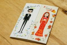 See, Indian Wedding Invites have always really been more or less the same-old same-old ! White & Gold, elegant cream, damask patterns and for those living on the edge an occasional pop of color on the insert. Quirky Wedding Invitations, Indian Wedding Invitation Cards, Indian Wedding Cards, Indian Wedding Planning, Invites, Wedding Stationery, Marriage Invitation Card, Marriage Cards, Invitation Ideas