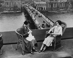 Knitting above London Bridge during a lunch hour in 1935.