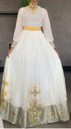 Top Wedding Dresses, Prom Dresses Long With Sleeves, Grad Dresses, Elegant Wedding Dress, Ethiopian Wedding Dress, Ethiopian Dress, Traditional Wedding Dresses, Traditional Outfits, Ethiopian Traditional Dress