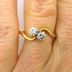 Vintage Two diamond engagement ring 18ct/18K 2 stone VS clarity 0.40ct crossover bypass twist ring Moi et Toi proposal ring*FREE SHIPPING by antiquejewelbox on Etsy