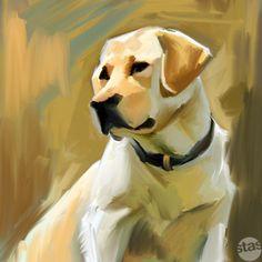 Yellow Labrador Retriever Lab Painting Artwork Canvas Giclee Print 7 Large   eBay