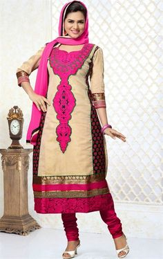 Picture of Unique Beige and Black Party Wear Salwar Kameez