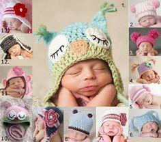 baby beanie girls BOYS kids 0 - 2 yrs CROCHET ears owl PHOTO prop | eBay