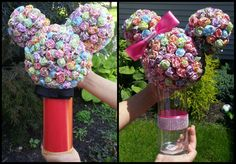 Minnie and Mickey Mouse Dum-Dum centerpieces! Step-by-Step instructions for this awesome DIY! Mickey Mouse Decorations, Mickey Mouse Centerpiece, Mickey Mouse Parties, Mickey Party, Mickey Mouse Clubhouse Birthday, Mickey Mouse Birthday, Mickey Minnie Mouse, 1st Birthdays, 2nd Birthday Parties