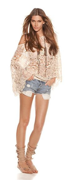 LUV this look...lace bell-sleeve top and old cut-off jean shorts!