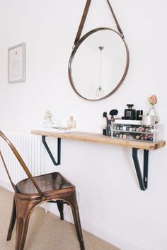 wall mounted vanity shelf for a tight space