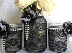 black lace mason jars - black and white lace covered mason jars - wedding decor - bridal shower decor- home decor - gift or for you