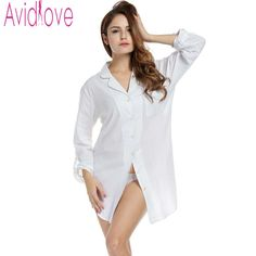 Avidlove Sleepshirt Women Cotton Nightwear Blouse Sexy White Shirt Long Sleeve  Shirt Solid Loose Sleepwear Sleep f88c23b1a