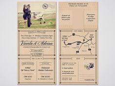 """Wedding invitations ideas/Idei invitatii de nunta originale. Invitație tip """"carte poştală vintage"""" - faţă, verso, împăturită în 3. (dimensiune finală 15 x 10 cm)."""