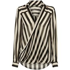OASIS Stripe Wrap Shirt ($62) ❤ liked on Polyvore featuring tops, blouses, shirts, blusas, brown shirt, wrap around blouse, stripe shirt, brown striped shirt y sheer blouse