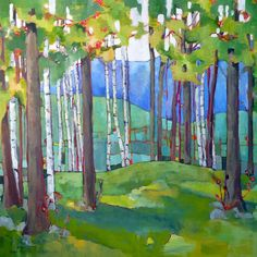 Spring in Vermont, by Beth Munro. Find endless inspiration at Craft-O-Rama! Watercolor Landscape, Landscape Paintings, Watercolor Paintings, Watercolors, Tree Paintings, Birch Tree Art, Diy Art, Art Projects, Contemporary Art