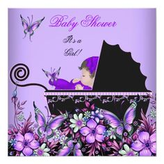 Baby Shower Cute Baby Girl Purple Butterfly 2 Custom Invites