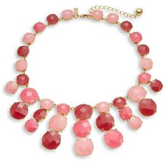 Kate Spade New York Smell the Roses Statement Necklace (360 QAR) ❤ liked on Polyvore featuring jewelry, necklaces, pink, statement necklaces, pink jewelry, pink bauble necklace, kate spade and rose jewelry