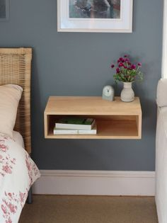 9 space saving diy floating nightstand ideas for your bedroom Home Decor Bedroom, Decor, Modern Floating Nightstand, Furniture, Interior, Furniture Finishes, Floating Nightstand, Home Decor, Room Decor
