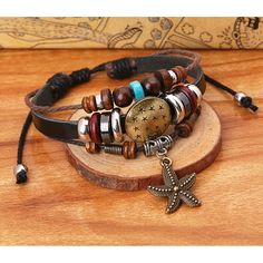 * Penny Deals * - TEMEGO Jewelry Mens Womens Alloy Genuine Leather Surfer Wrap Bracelet, Vintage Beads Starfish Charm Cuff Bracelet, Adjustable Fits 7-12 Inch * Details can be found by clicking on the image.