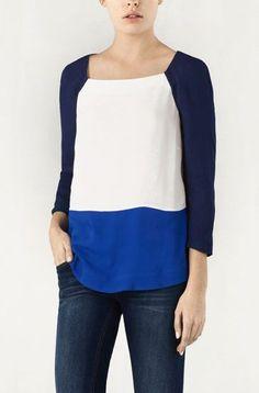 Tricolour raglan sleeve oversized blouse