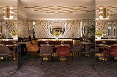 Polished Brass - Dining Room - Backsplash Tile - Paris Restaurant - Hospitality Design - Glam Style