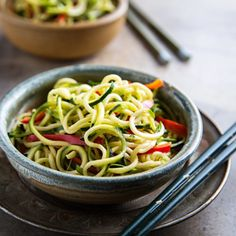 "Zucchini ""Noodles"" with Sesame-Peanut Sauce"