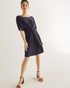 Shop online for Front Tie Navy Dress. Find Dresses, Clothing and more at Reitmans Nice Dresses, Dresses For Work, Dresses With Sleeves, Womens Navy Dress, Happy Hour Outfit, Wrap Jumpsuit, Casual Tops, Chiffon Dress, Sewing Tutorials