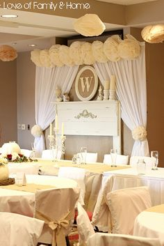 Vintage rustic elegant wedding reception decorations decor; create a mantle scene, add fabric drapes, could be burlap, sheer or linen and monogram initial; as a focal point.  Upcycle, recycle, repurpose, salvage, diy!  For ideas and goods shop at Estate ReSale & ReDesign, Bonita Springs, FL