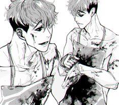 Omg omg omg Sangwoo you are making all the boys jealous with you perfection! Kagehina, Manhwa, Manga Anime, Anime Art, Anime Boys, Killing Stalking Manga, Gang Road, Killing Me Softly, Psychological Horror