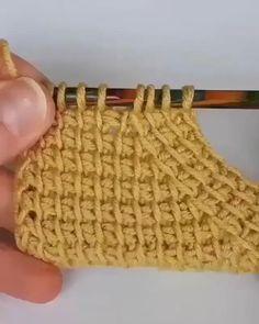Crochet Motifs, Crochet Stitches Patterns, Tunisian Crochet, Knitting Stitches, Free Crochet, Knit Crochet, Knitting Patterns, Afghan Crochet, Hand Knitting