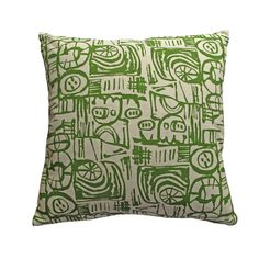 Cushion - Small Scale 'Sketch' Design Green Thing 1, Printing Ink, Screenprinting, Sketch Design, Cushion Pads, Natural Linen, Lampshades, I Shop, Scale