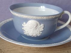 RARE Antique 1920's Czechoslovakia porcelain tea cup and saucer, white cameo tea cup set, blue and white tea set, antique tea cup set,