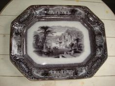 Antique c1850 171/2 STAFFORDSHIRE 8Sided by PastPossessionsOnly, $124.95