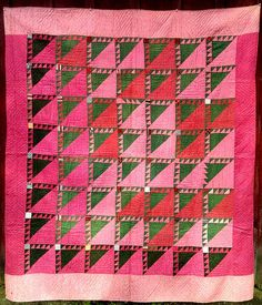Pristine Antique 19th C. Quilt Pennsylvania Birds In The Air Pink Green Unwashed, eBay, redgoatfarm